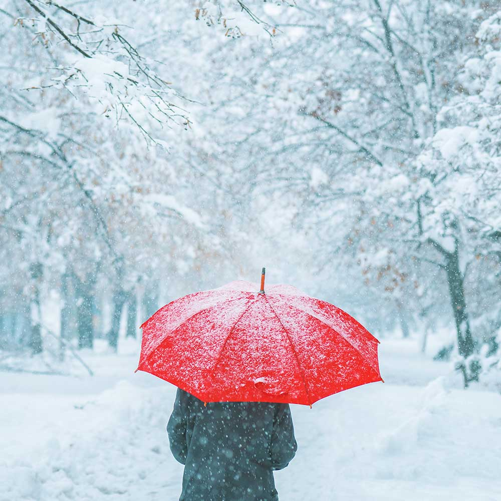 Grief and loss - woman under red umbrella walking in winter snow